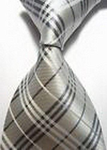 [Dream Pole New Classic Checks Silver Gray JACQUARD WOVEN 100% Silk Men's Tie Necktie cdc0115] (Martini Costume Halloween)