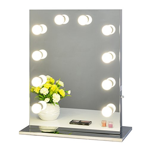 Chende Frameless Hollywood Tabletops Lighted Makeup Vanity Mirror with Dimmer Gift (6550, Frameless) by Chende
