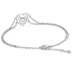 WISHMISS Women Sterling Silver Heart Bracelet