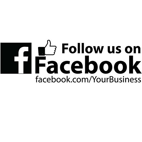 Basic Vinyl® - Business Retail Decal - Personalized Custom Social Media Advertising for Your Company - Follow Us On Facebook (12 inch, Gloss Black) by Basic Vinyl (Image #1)