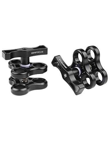 Minifocus 3 Holes Ball Clamp Mount 1'' Triple Holes Camp for Video Light Flash Light Arm System Underwater Diving Camera Arm Tray (2 pack) by Minifocus
