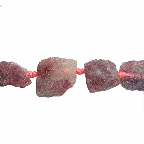 Pink Tourmaline Bead Necklace - Raw Healing Natural Tourmaline Gemstone 15-25mm Irregular Large Nugget Chip Beads for Fashion Necklace Bracelet Earrings Beading One Strand 15 Inch Apx 16 Pcs