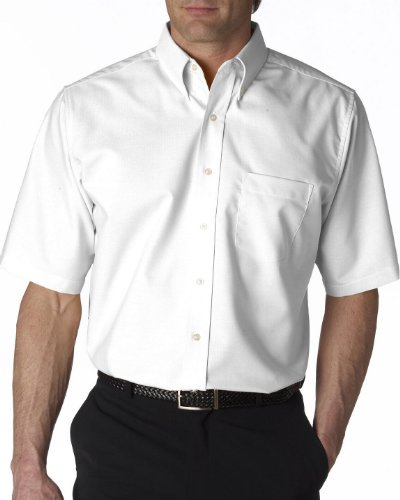 UltraClub mens Classic Wrinkle-Free Short-Sleeve Oxford(8972)-WHITE-S