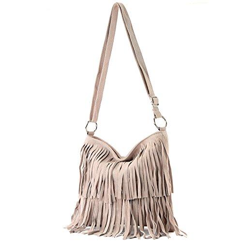 de Bolso señoras bolsa Rosabeige del bolso Ital cuero las de de bolso T125 gamuza Frans dwwvTqU7x