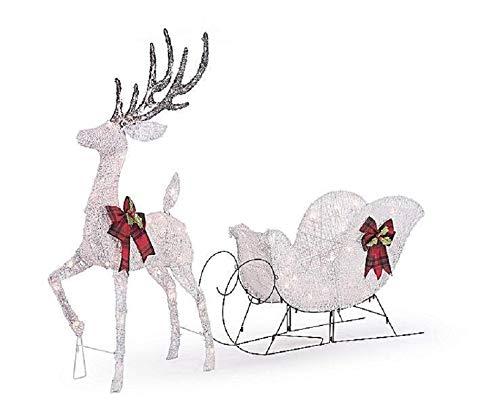 Home Collection White Reindeer & Sleigh Sculpture Outdoor Christmas Decoration Yard Lawn Garden Sculpture Seasonal Display