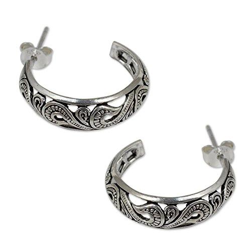 (NOVICA 925 Sterling Silver Half Hoop Post Earrings, 30mm, Moon in the)