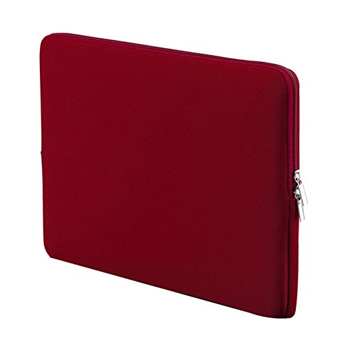SODIAL 14 inch Korean Style Portable Zipper Soft Sleeve Laptop Pouch Bag for Notebook Computer Case - Wine Red (Case Korean Laptop)