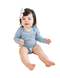 Woolino Baby Long-Sleeve Bodysuit, Merino Wool, 6-12 Months, Blue