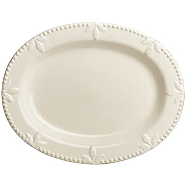 Signature Housewares Sorrento Collection 14-Inch Oval Serving Platter, Ivory Antiqued Finish