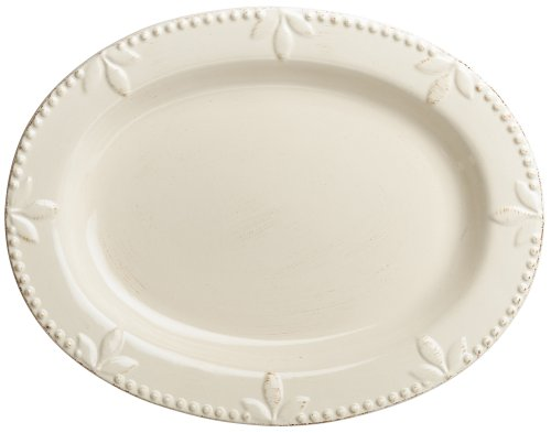 Platter White Leaf (Signature Housewares Sorrento Collection 14-Inch Oval Serving Platter, Ivory Antiqued Finish)