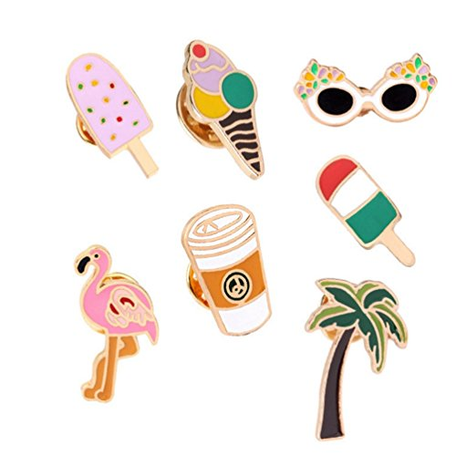 - WINZIK Lapel Pins Set 7Pcs Novelty Cute Ice Cream Cup Flamingo Coconut Tree Series Brooch Pins Badges For Unisex Child Women Girls Clothes Backpacks Decor