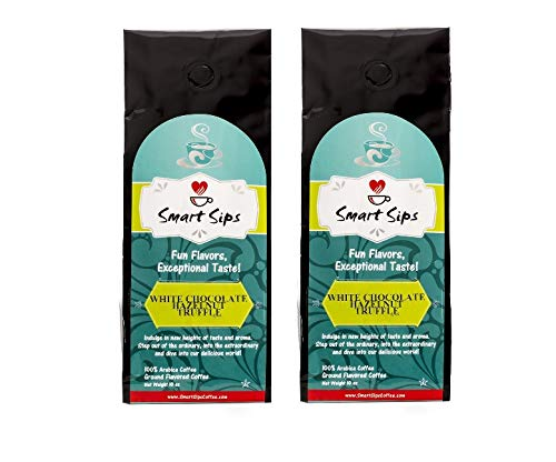 Smart Sips, White Chocolate Hazelnut Truffle Ground Gourmet Flavored Coffee, 20 Ounce