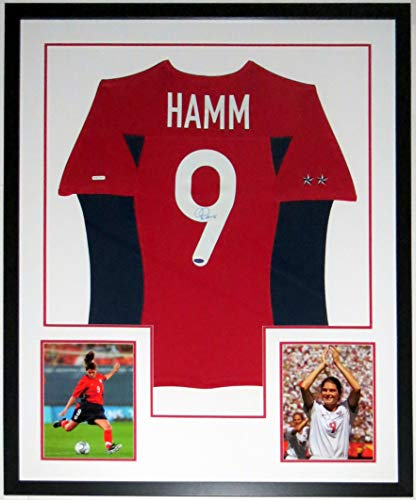 Mia Hamm Signed Authentic Nike Team USA Jersey -Steiner Sports COA Authenticated - Professionally Framed & World Cup 8x10 Photo 34x42 (Nike Hamm Mia)