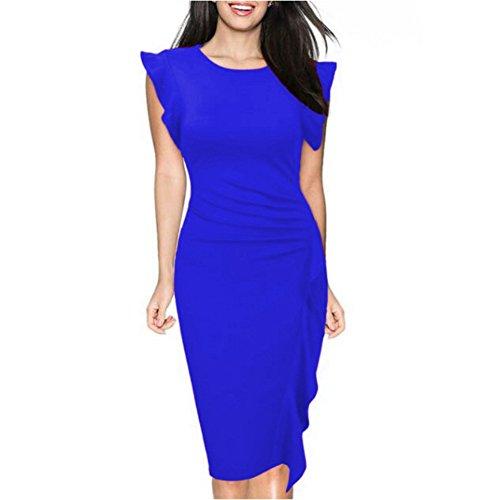 Fiesta Cóctel Vestidos Sólido Mujer con de O la de Vestido Escote Corta Trabajo Volantes Rodilla Vestidos Ajustado Oficina Azul Noche para con Yuxin Color Hasta Manga Vestido pEpvdwq