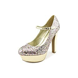 G by Guess Women's Varika4 Platform Mary Jane Pumps in Gold Multi Size 9