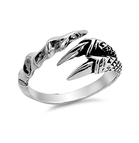 - 925 Sterling Silver Two Eagle Claws Design Ring Size 8