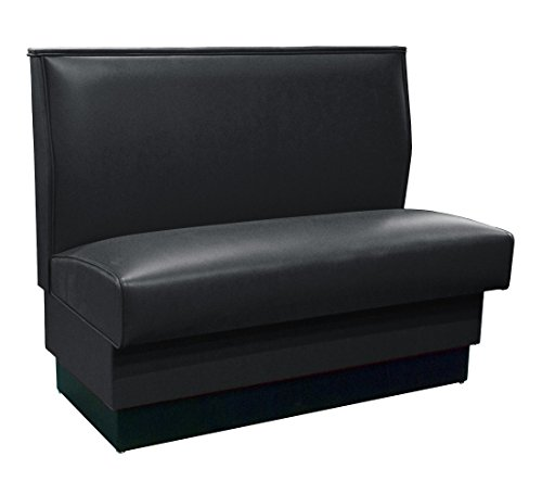 "American Tables & Seating QAS-36-Tsunami-ARM-126-M Plain Back Upholstered Booths, Single, 36"" Height, Black"