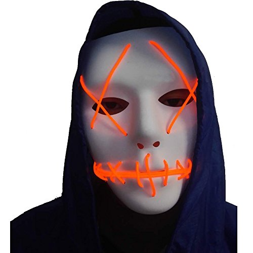 A-MORE Halloween Mask Cosplay LED Glow Scary EL Wire Light Up Grin Masks for Festival Parties Costume (Red) -