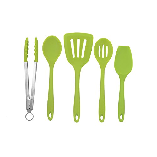 Zeal 5-piece Kitchen Utensil Set - Cooks Spoon, Turner, Scraper Spoon, Draining Spoon and Tong - European grade Pure Silicone, Heat Resistant to 482F (Green) by Zeal (Image #9)