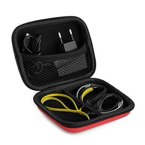 Sports Wireless Bluetooth Headset Carrying Case, Fit Jabra Sport Plus, Pulse, Step, Rox, Sony MDRAS200, MDR-J10, MDR-AS200 / Sweat Proof Wireless Workout Earbuds Carrying Case (Red)