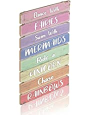 Something Unicorn - Pastel Rainbow Wall Hanging Sign for Teen Girls, Kid's Bedroom, Nursery, College Dorm, Girls Room Decor. Amazing Gift for Unicorn, Mermaid, Fairy, Rainbow Lovers,12x17 in, Rainbow