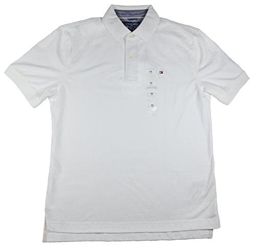 Tommy Hilfiger Mens Interlock Polo, White, Large (Interlock Embroidered)
