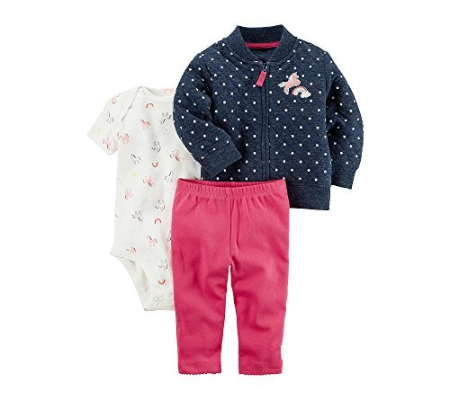 Carters Baby Girls 3 Piece Rainbow Print Little Jacket Set,Blue/Pink,6 Months