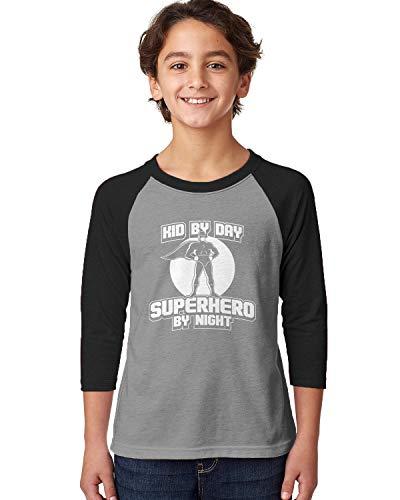 SpiritForged Apparel Kid by Day Superhero by Night Youth 3/4 Raglan Shirt, Black/Heather Large