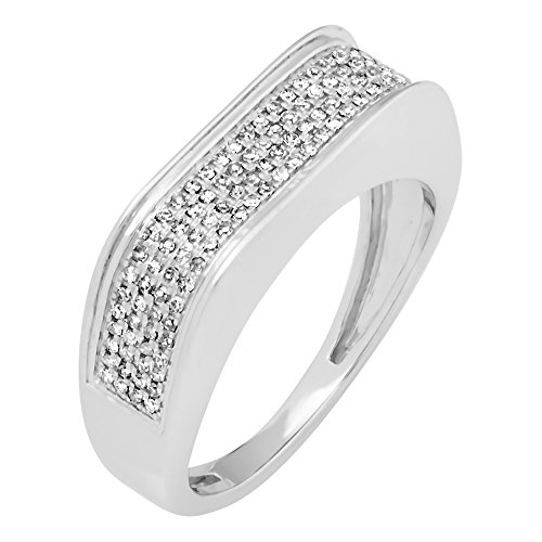 0.40 Carat (Ctw) 10K White Gold Round White Diamond Men's Hip Hop Micro Pave Wedding Band (Size 13) by DazzlingRock Collection