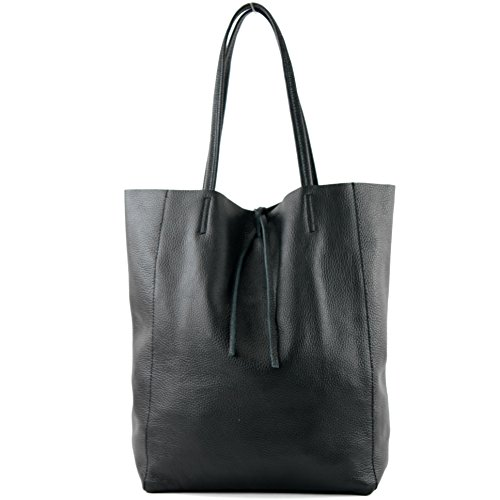modamoda leather bag Shopper Leather Color shoulder Large Ladies de black T163 ital bag bag bag qCFw1HqA