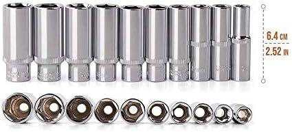 3/8 inch Deep Long Socket Set CRV 10-19mm Deep Socket Adapter for Torque Ratchet Socket Wrench Spanner Repair Hand Tool