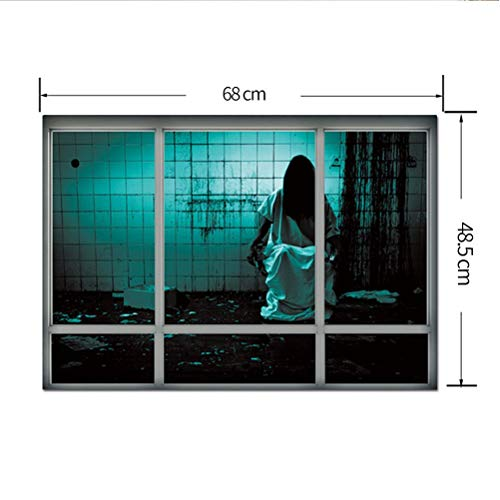 XIAOLI& Female Ghost Sticker Living Room Bedroom Decoration Creative Stereoscopic 3D Fake Window Wall Sticker Halloween Female Ghost Sticker, Super