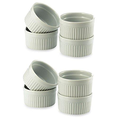 Ramekins Bia (BIA Cordon Bleu (2 Set of 4) - 8 oz. Porcelain Ramekins White Bowls 8 ounce)