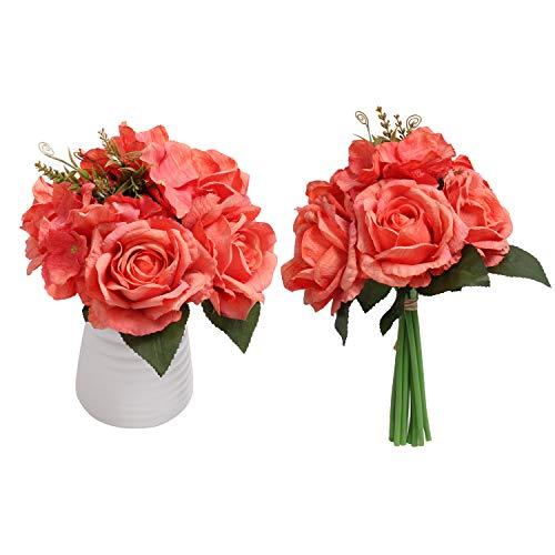 (SHACOS Artificial Vintage Silk Rose Bouquets Set of 2 Rose Flower Arrangement Home Wedding Decor (Orange))