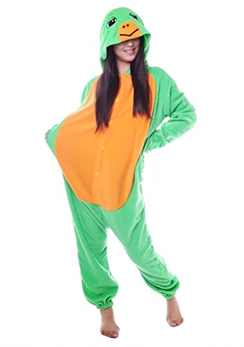 Joygown Unisex Plush One Piece Halloween Costume Adult Animal Cosplay Pajamas Sea Turtle S ()