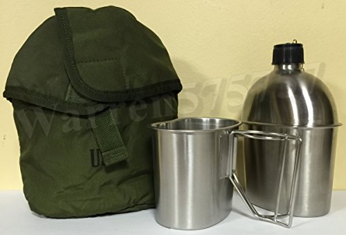 G.I. Style Stainless Steel 1qt. Canteen with Cup. And Surplus G.I. Issue Olive Drab Nylon Canteen Cover. by G.A.K.