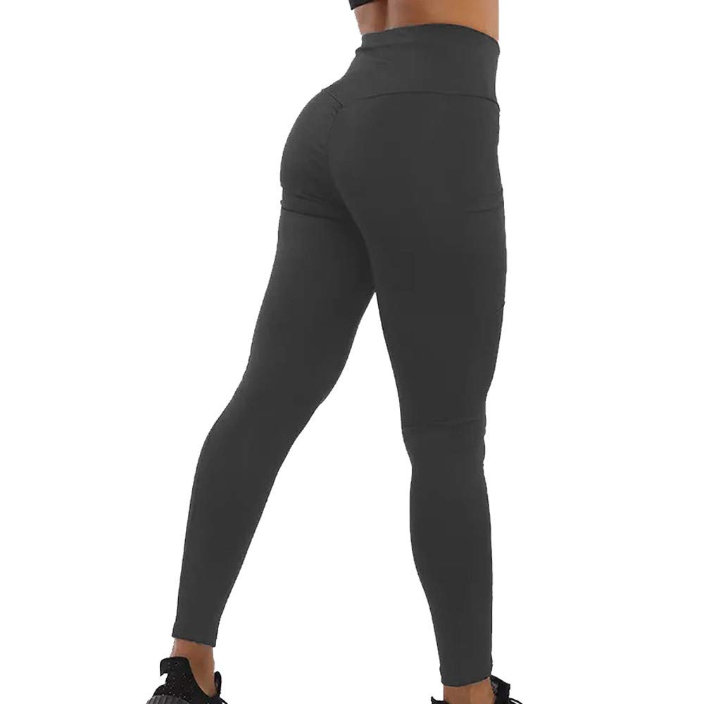 Womens Pants,Yoga Pants for Women Tummy Control Workout Pants Fitness Pants Yoga Leggings with Pockets Deep Gray