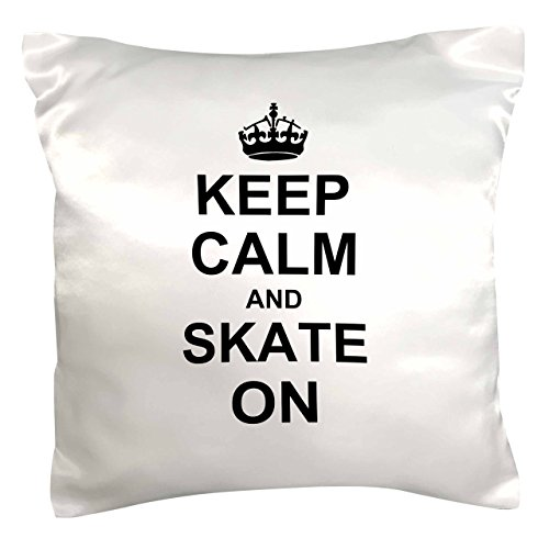 3dRose pc_157771_1 Keep Calm and Skate on Carry on Skating Funny Skateboarding Ice Skater Or Roller Skating Gifts Pillow Case, 16