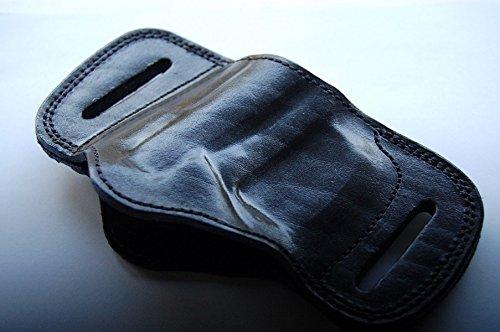 (Cal38CB3 Coonan 357 Magnum 1911 Leather Belt Slide Holster Tan Black (BLACK))