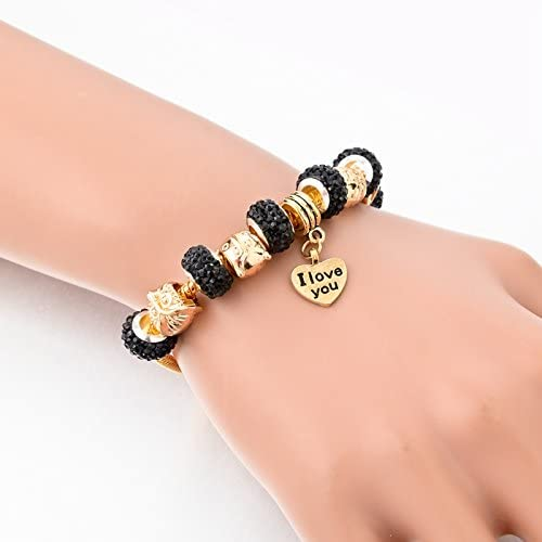 Long Way Gold Plated Snake Chain Glass Beads I Love You Charm Beaded Bracelets for Women