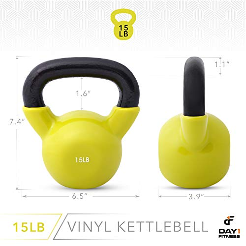 Day 1 Fitness Kettlebell Weights Vinyl Coated Iron 15 Pounds - Coated for Floor and Equipment Protection, Noise Reduction - Free Weights for Ballistic, Core, Weight Training by Day 1 Fitness (Image #2)