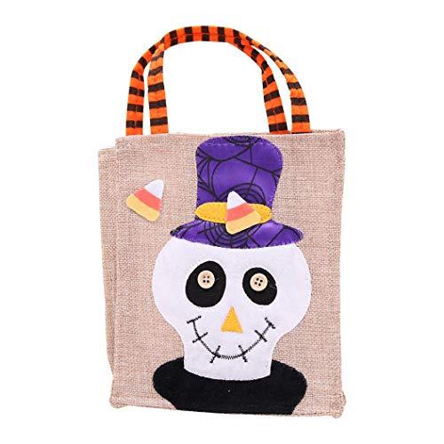 Halloween Tote Bags, SUJING Trick or Treat Halloween Tote Bag Halloween baskets Linen Party Gift Candy Bag (B)