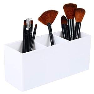 Dseap Makeup Brush Holder Organizer – Acrylic, 3 Compartments – Make up Brushes Holder, Makeup Brush Cup Container…