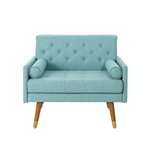Christopher Knight Home 305842 Nour Fabric Mid-Century Modern Club Chair, Blue, Natural - 7