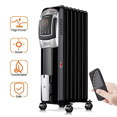 Electric Radiator Heater, 1500W Portable Oil Filled Radiator Space Heater with Digital Thermostat, 24-Hour programmable Timer, Remote Control, Safe Heater for Full Room