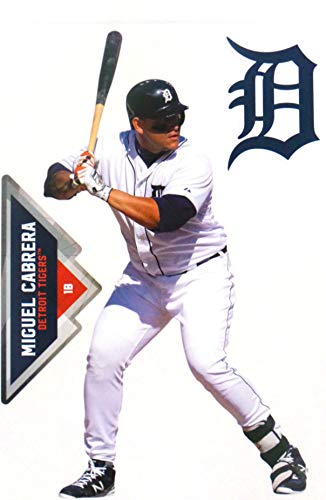 Stickers Miguel - FATHEAD Miguel Cabrera Mini Graphic+ Detroit Tigers Logo Official MLB Peel and Stick Re-Usable Vinyl Wall Graphics 7