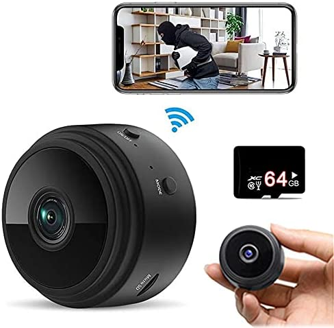 Hidden Mini Spy Camera (Include a 64G SD Card), with Audio and Video Live Feed WiFi Wireless Cameras, 1080P HD Nanny Cam with Night Vision Motion Detection for Home Car (2021 New Version)