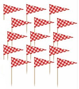 Price comparison product image Picnic Party Red Gingham Flag Cupcake Picks Set of 12