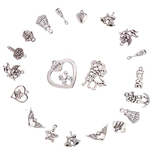 (PH PandaHall 90PCS 15 Style Antique Silver Tibetan Alloy Wedding Love Theme Charms Pendants for DIY Jewelry Making)