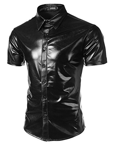 Cyber Goth - JOGAL Men's Trend Nightclub Styles Metallic Silver Short Sleeve Button Down Shirts XX-Large Black